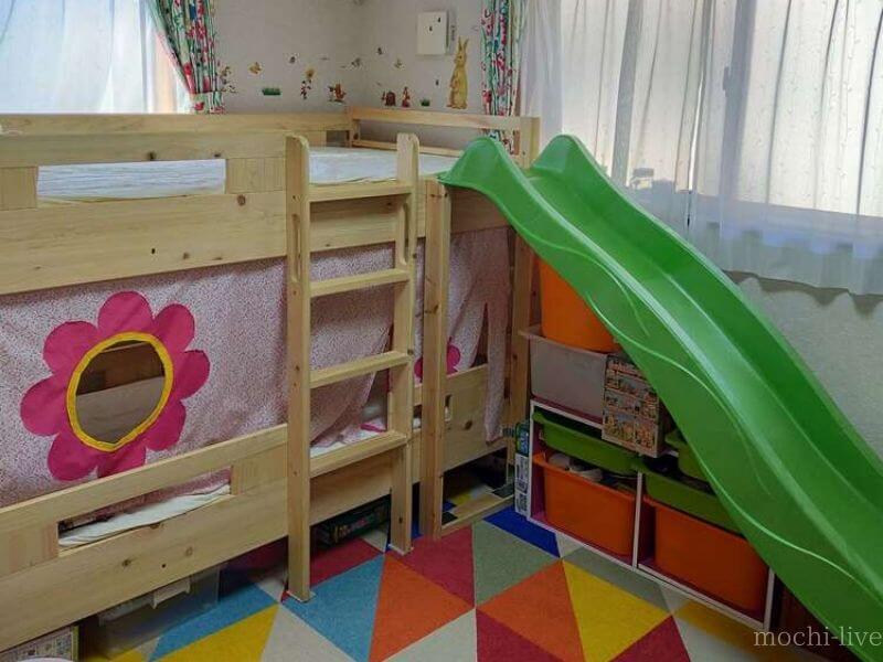 滑り台付き二段ベッド